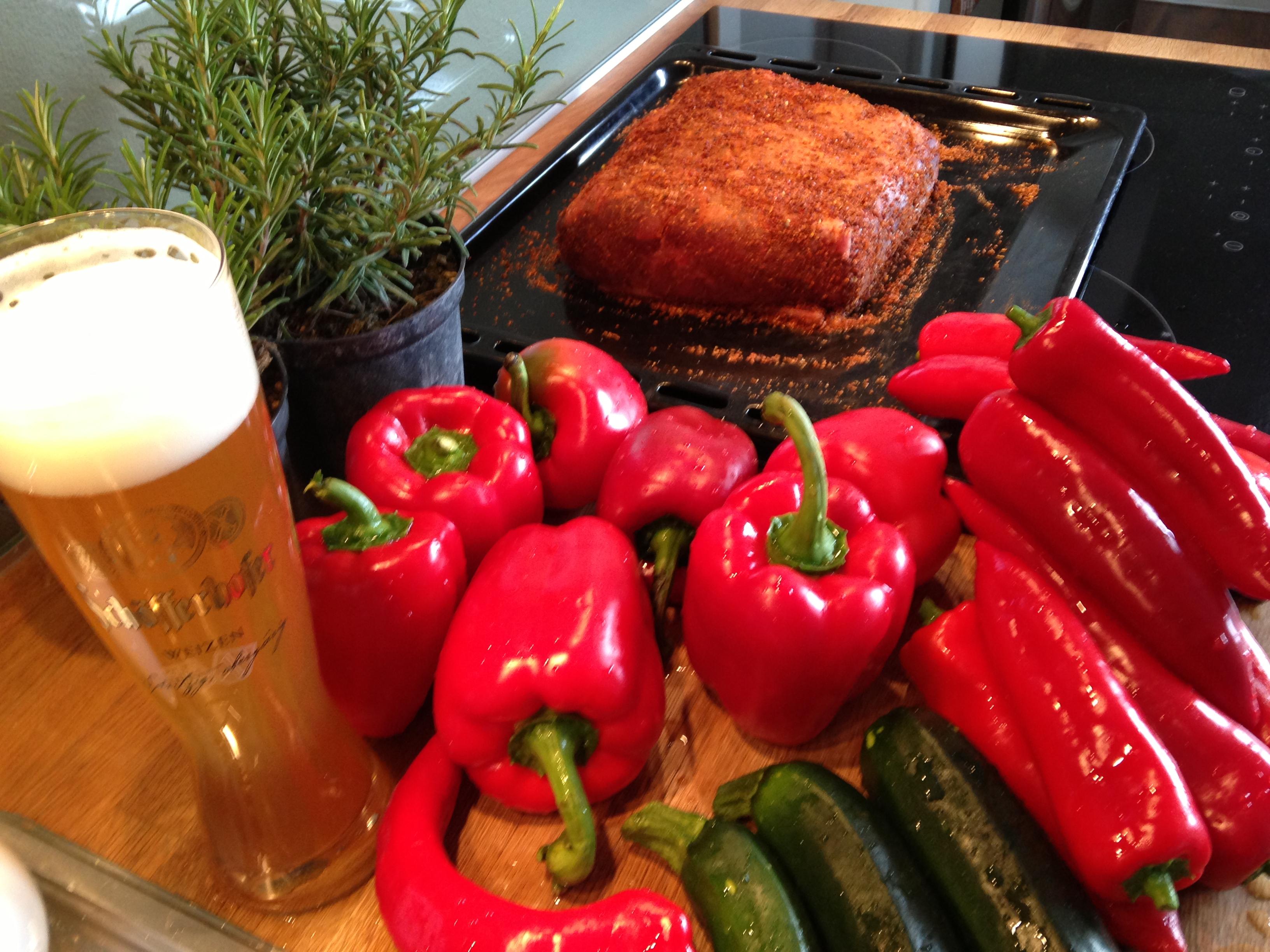 Bratenvorbereitung und Gemüse